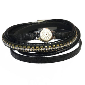 Wrap Bracelet 3 strand Leather Clock Black