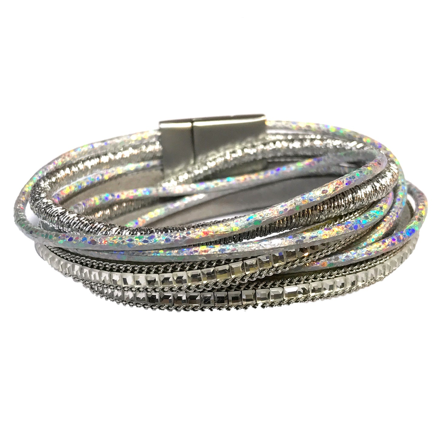 Wrap Bracelet 4 strand Leather Metallic Silver