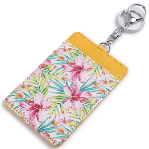 Card Case April Watercolor Hibiscus Yellow - Happy Wahine