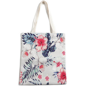 Cotton Tote Large Everyday Hawaii Hibiscus Beige