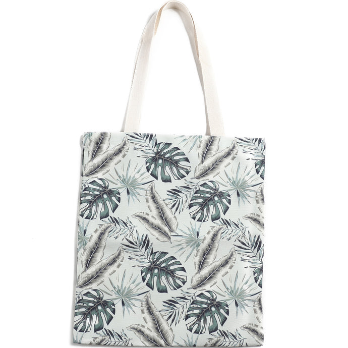 Cotton Tote Large Everyday Hawaii Monstera Teal - Happy Wahine