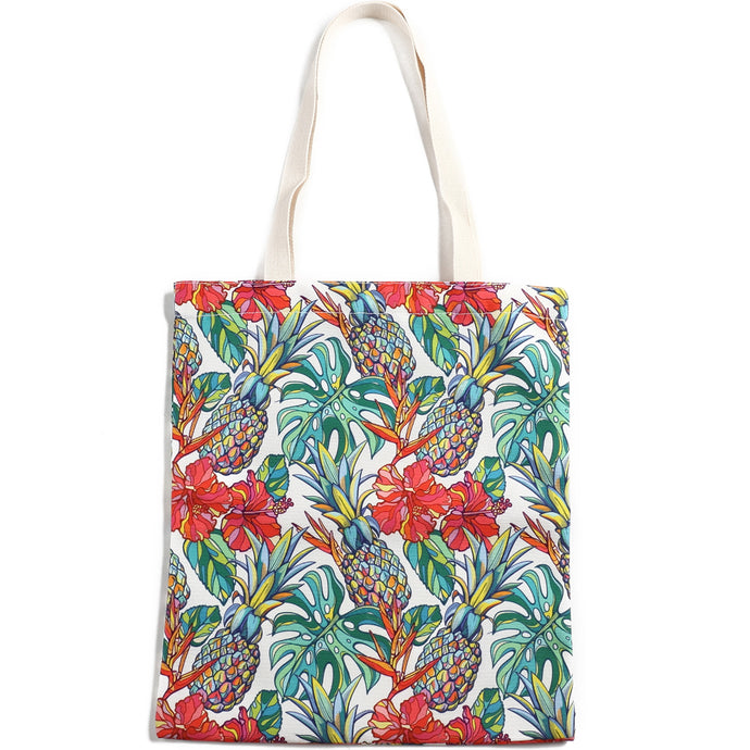 Cotton Tote Large Everyday Hawaii Pineapple Beige - Happy Wahine