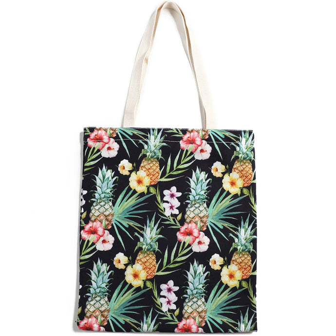 Cotton Tote Large Everyday Hawaii Pineapple Black - Happy Wahine