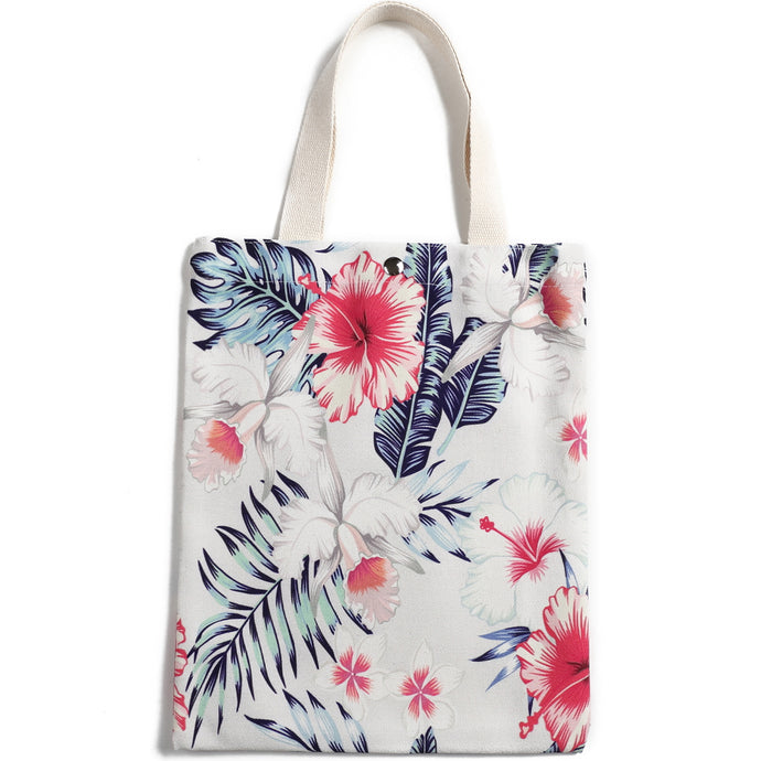 Cotton Tote Small Everyday Hawaii Hibiscus Beige - Happy Wahine