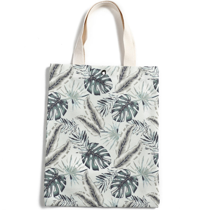 Cotton Tote Small Everday Hawaii Monstera Teal - Happy Wahine