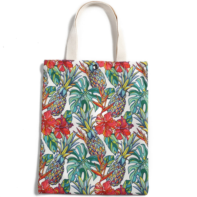 Cotton Tote Small Everyday Hawaii Pineapple Beige - Happy Wahine