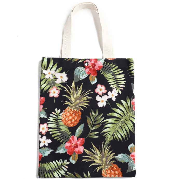 Cotton Tote Small Everyday Hawaii Pineapple Black - Happy Wahine