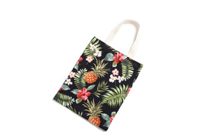 Cotton Tote Small Everyday Hawaii Pineapple Black