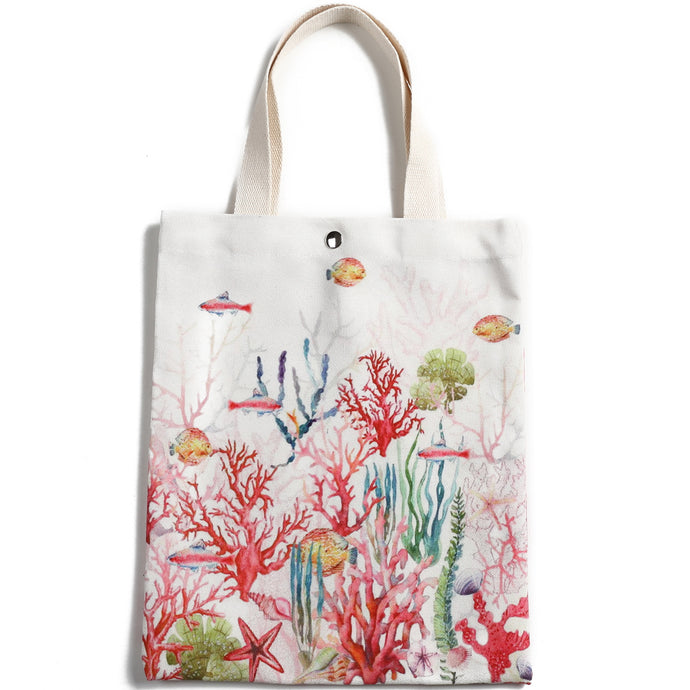 Cotton Tote Small Everyday Hawaii Coral Beige - Happy Wahine