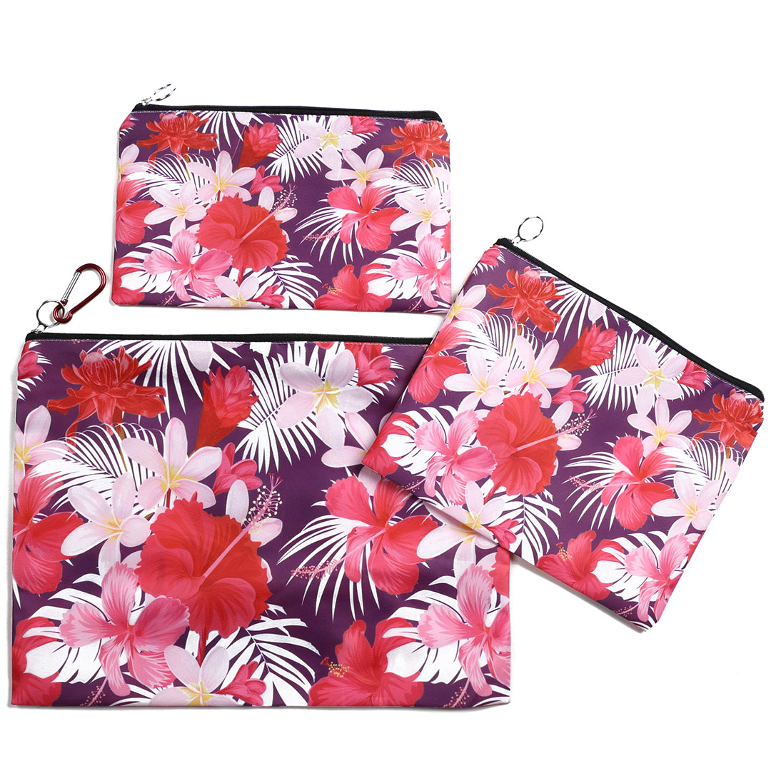 Pouch Set Everyday Hawaii Hibiscus Pink 3-piece