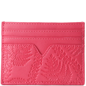 Card Case Meilany Fern Lei Embossed Pink