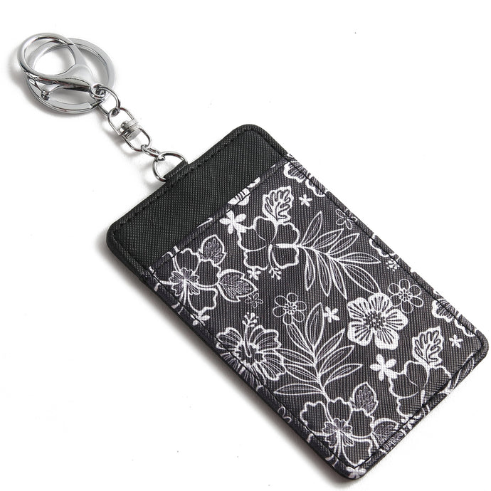 Card Case April Hibiscus Blossom Black - Happy Wahine