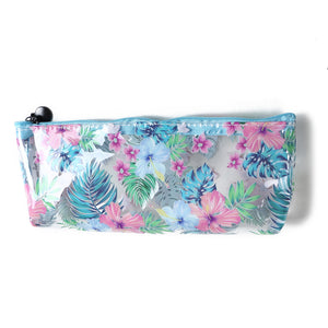 Clear Pencil Case Everyday Hawaii Monstera Blue