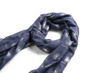 Load image into Gallery viewer, Scarf Danielle Silver Dandelion Navy - Happy Wahine