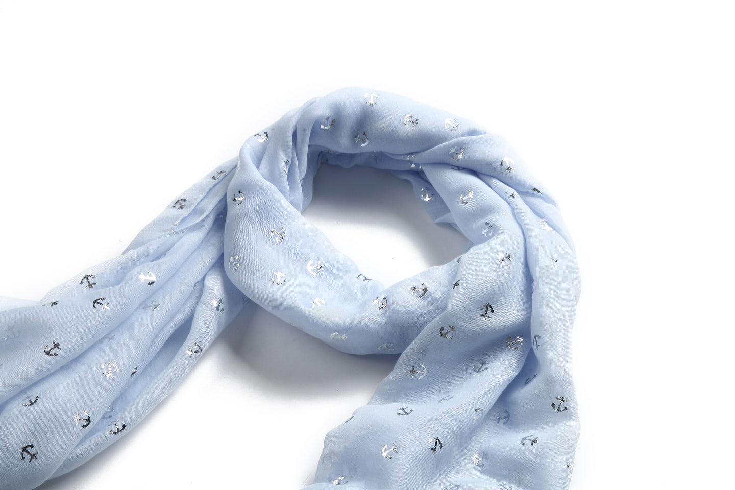 Scarf Danielle Silver Anchor Blue - Happy Wahine