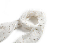 Load image into Gallery viewer, Scarf Danielle Gold Anchor White