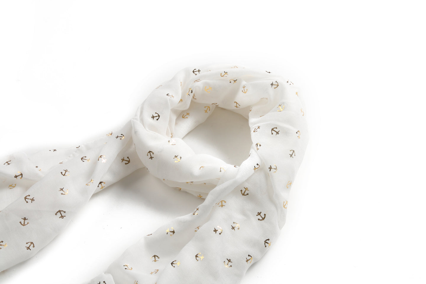 Scarf Danielle Gold Anchor White - Happy Wahine