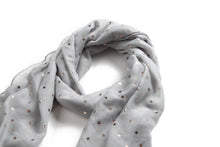 Load image into Gallery viewer, Scarf Danielle Rose Gold Stars Grey