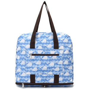 Foldable Duffle Bag Sophie Cute Whale Blue