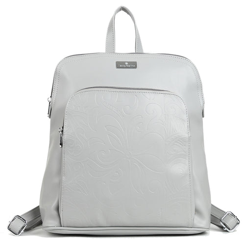 Backpack Sasha Tapa Tiare Embossed Grey - Happy Wahine