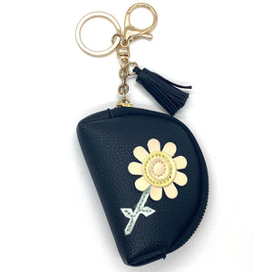 Charm Ariel Round Flower Purse Black