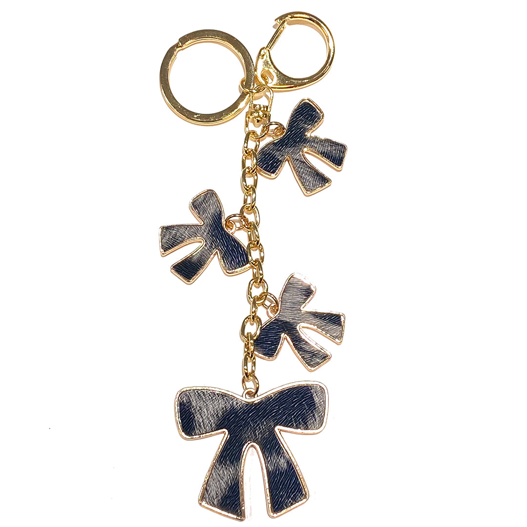 Charm Bow Animal Print Grey/Black