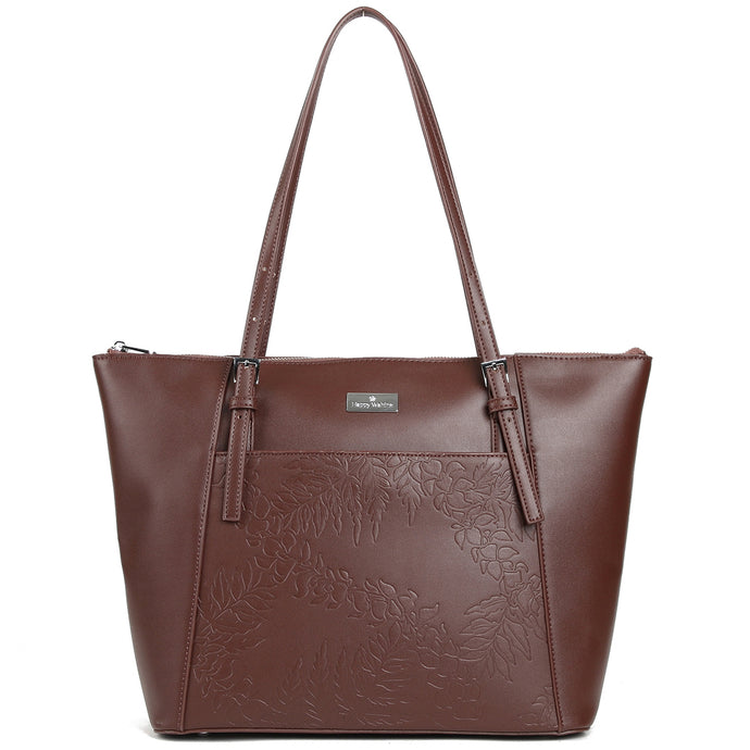 Tote Elizabeth Fern Lei Embossed Brown - Happy Wahine