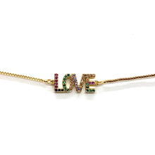 Load image into Gallery viewer, Adjustable Bracelet Rainbow Love Gold