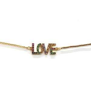 Adjustable Bracelet Rainbow Love Gold
