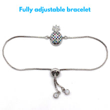 Load image into Gallery viewer, Adjustable Bracelet Pineapple Small Multi Silver