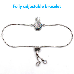 Adjustable Bracelet Pineapple Small Multi Silver