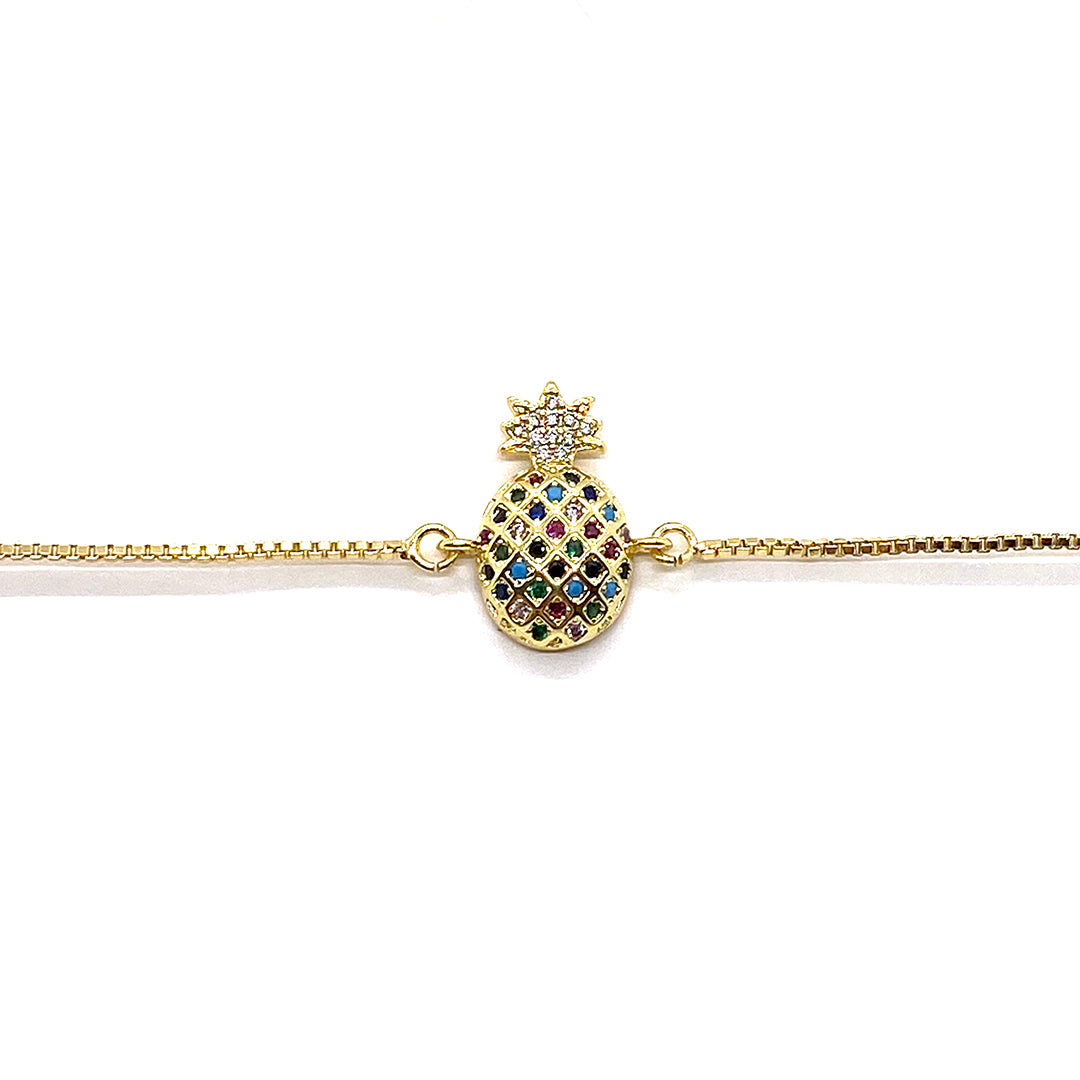 Adjustable Bracelet Pineapple Large Multi Gold