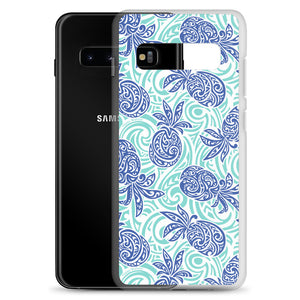 Samsung Phone Case Tapa Pineapple Blue - Happy Wahine