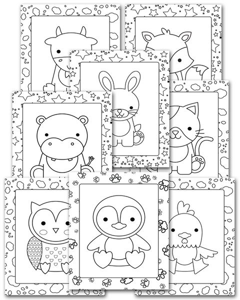 Adorable Animals Coloring Sheets {37 pages}
