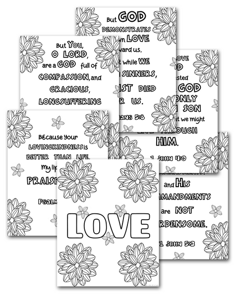LOVE Scripture Coloring Sheets Pack {6 pages}