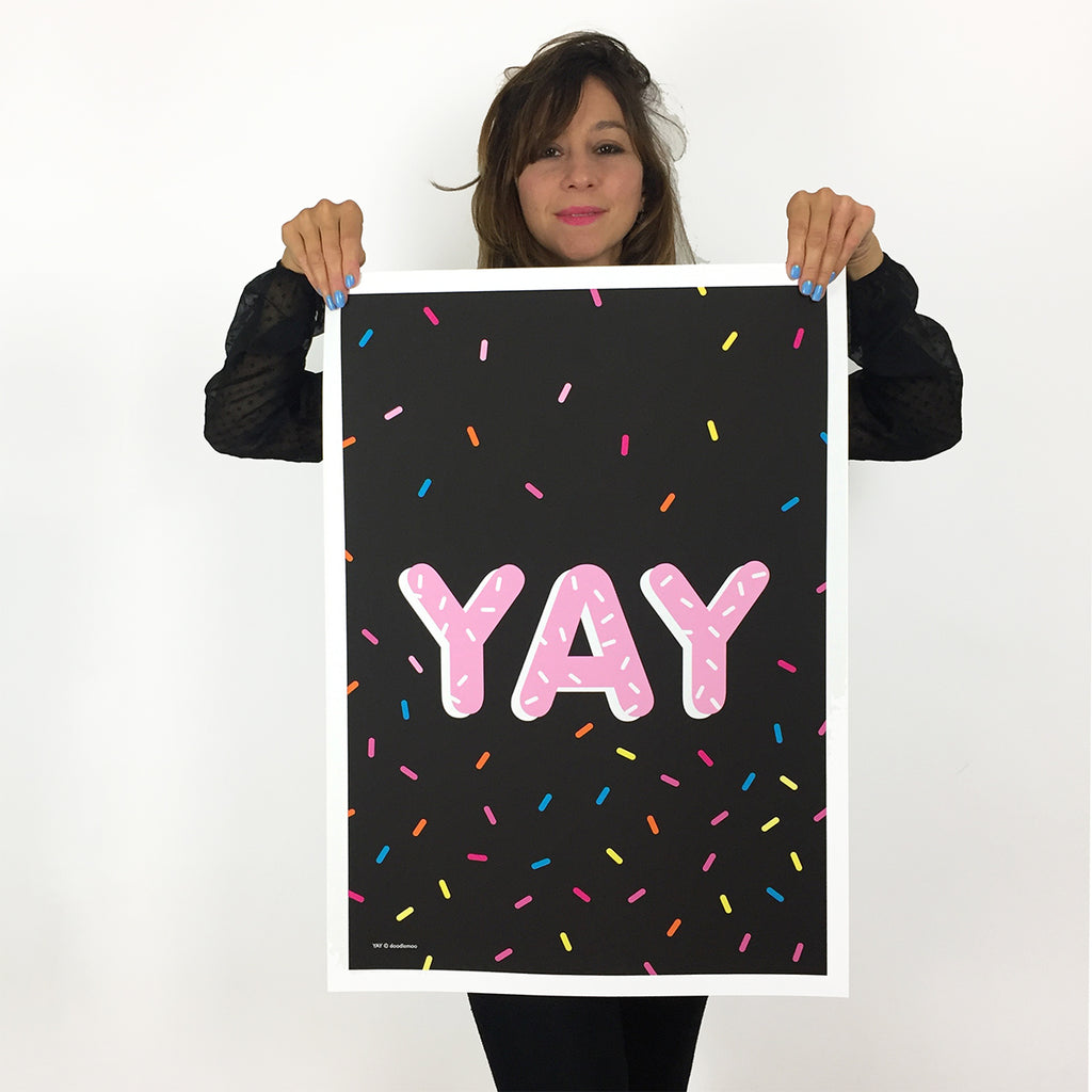 Emily YAY and sprinkles poster 50x70 Doodlemoo