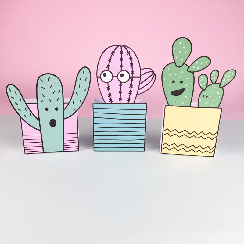 DIY Cactus favour boxes; free printable by Doodlemoo