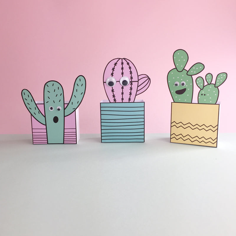 DIY Cactus favour boxes with googly eyes