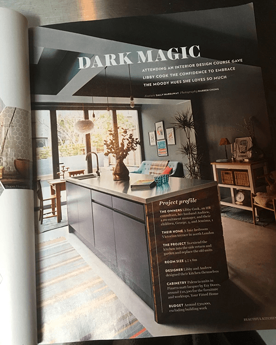 Dark magic, Libby's kitchen, a page from the Beautiful Kitchen's magazine