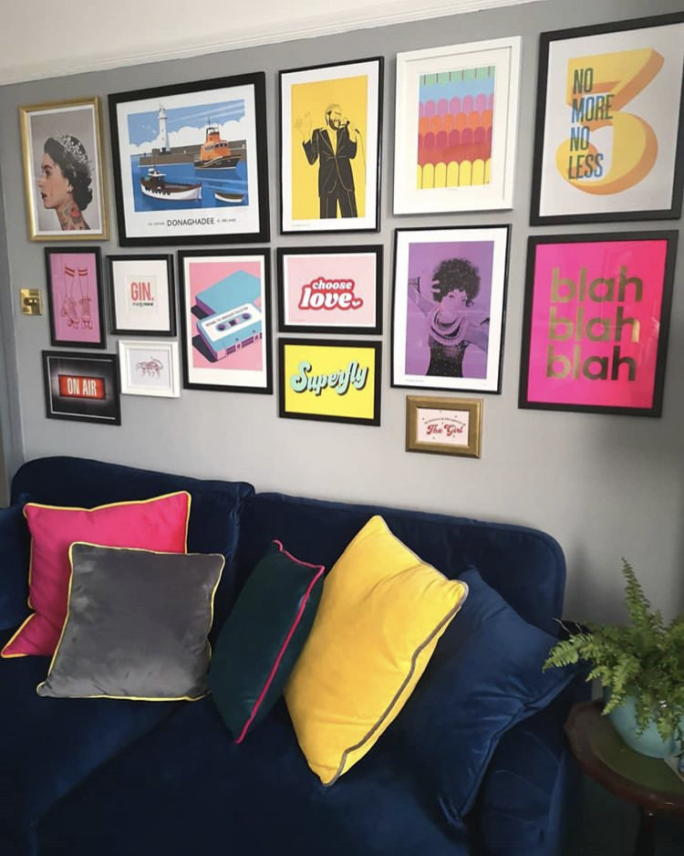 Detail of lounge Gallery wall at Flawsomehome with our 'Choose Love' print