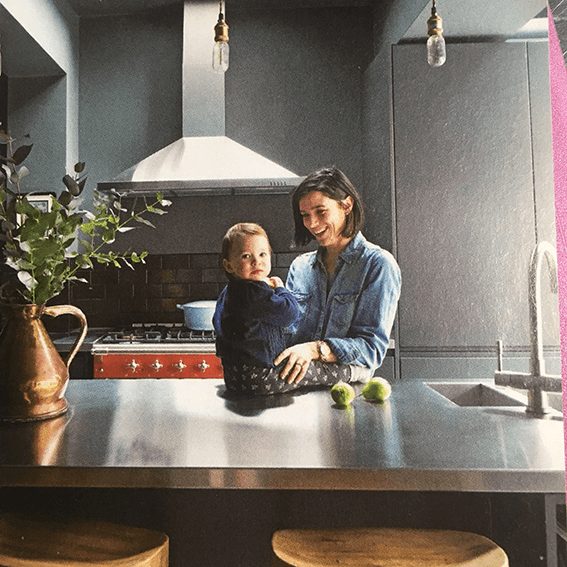 Libby with her daughter in her Kitchen article feature