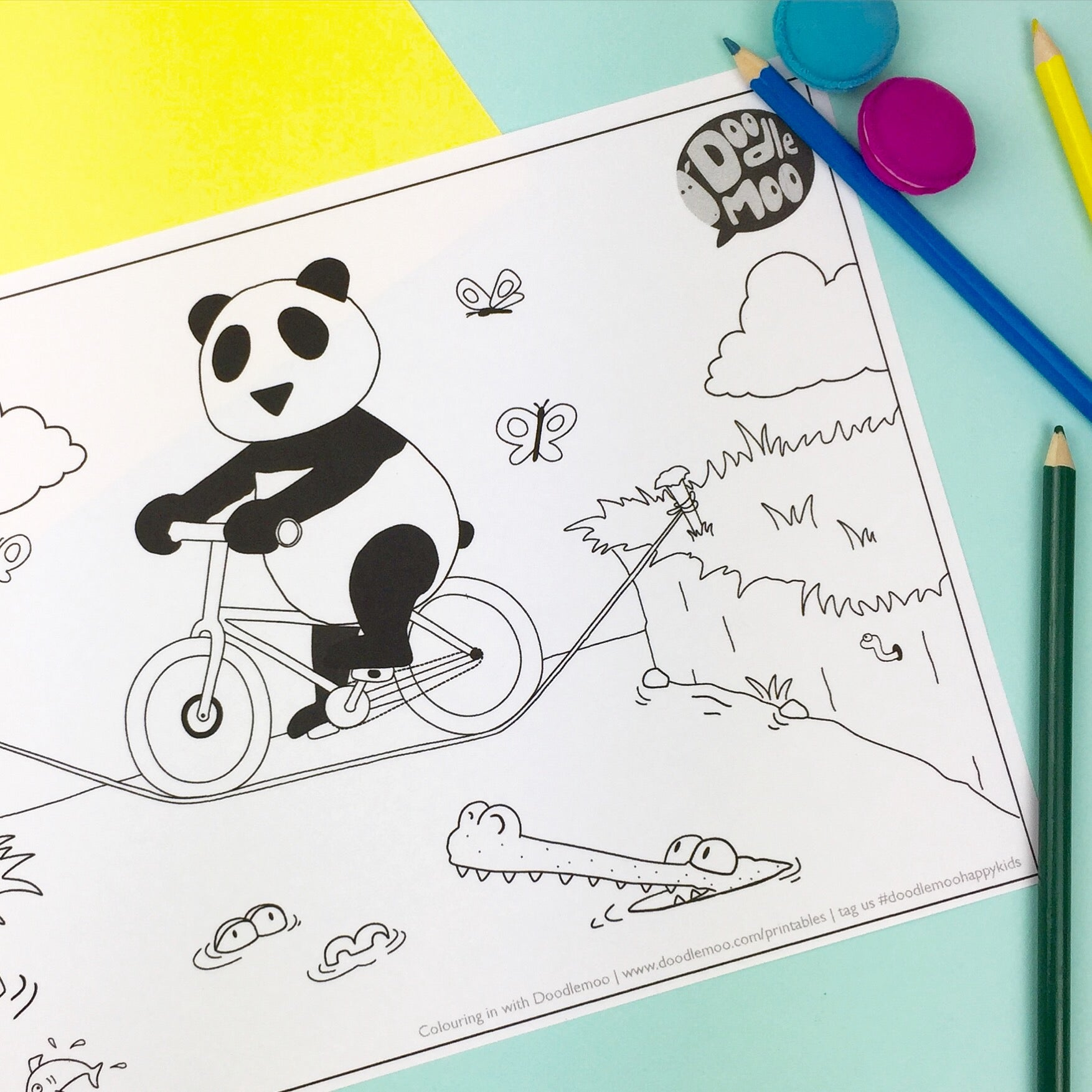 Panda on a bike Colour me in by Doodlemoo