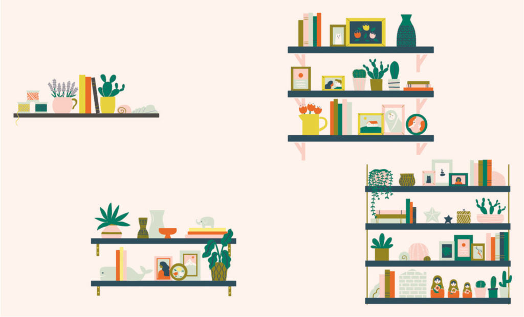 Shelfie Illustrations for book spread