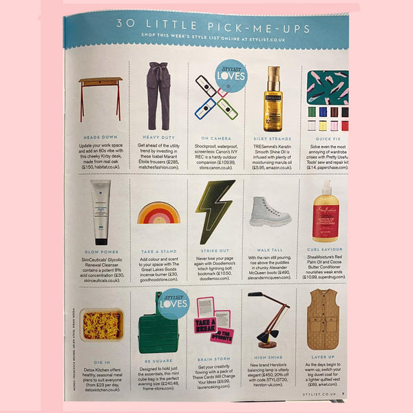 Doodlemoo lightning bolt bookmarks featured in THE STYLE LIST Stylist Magazine Jan 2020