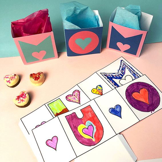 mothers day colour me in letter gift boxes