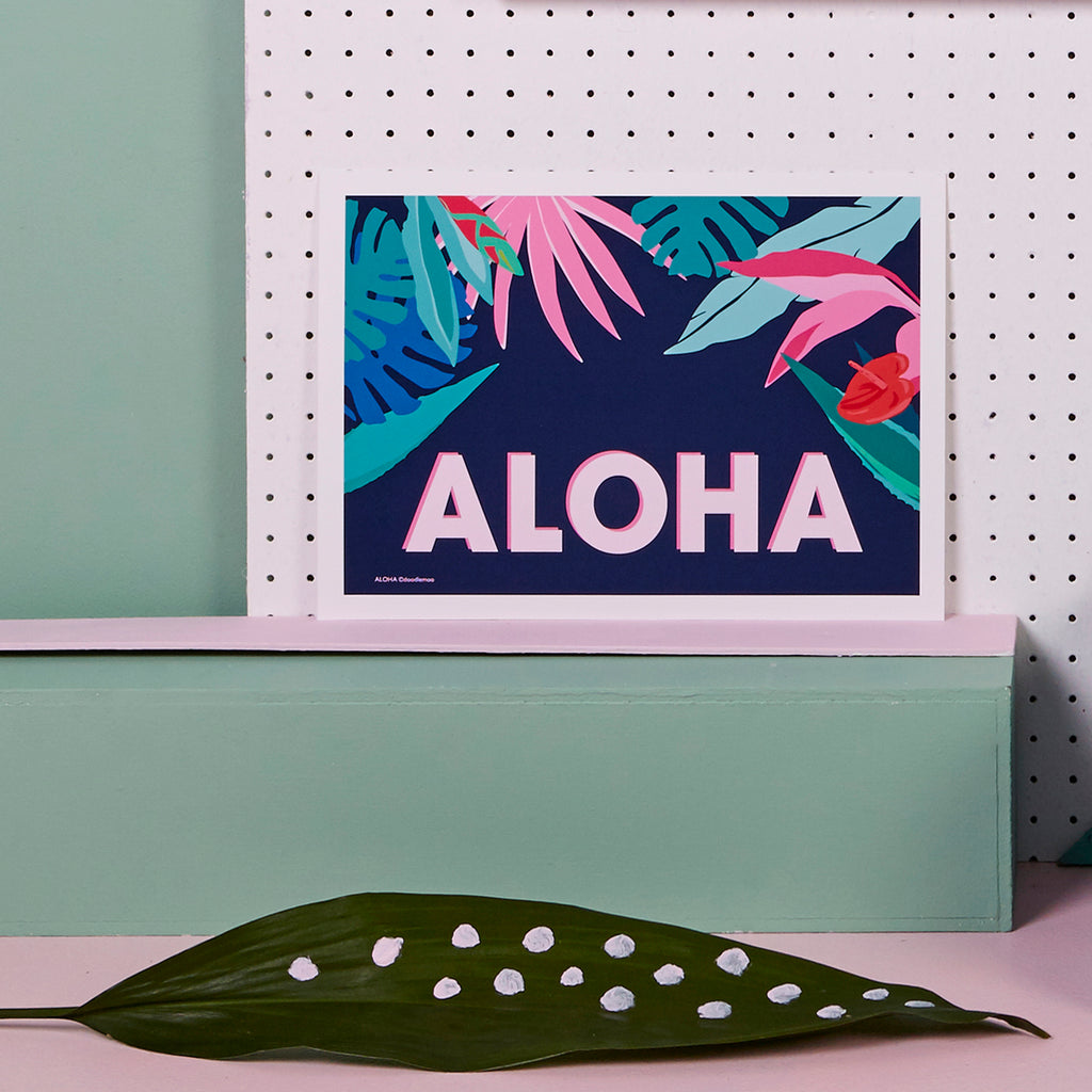ALOHA Tropical Art Print; blue