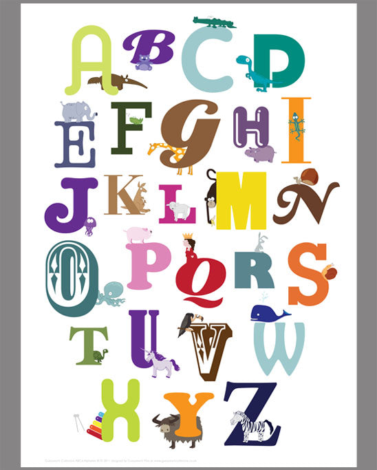 Alphabet for kids with characters Print/poster
