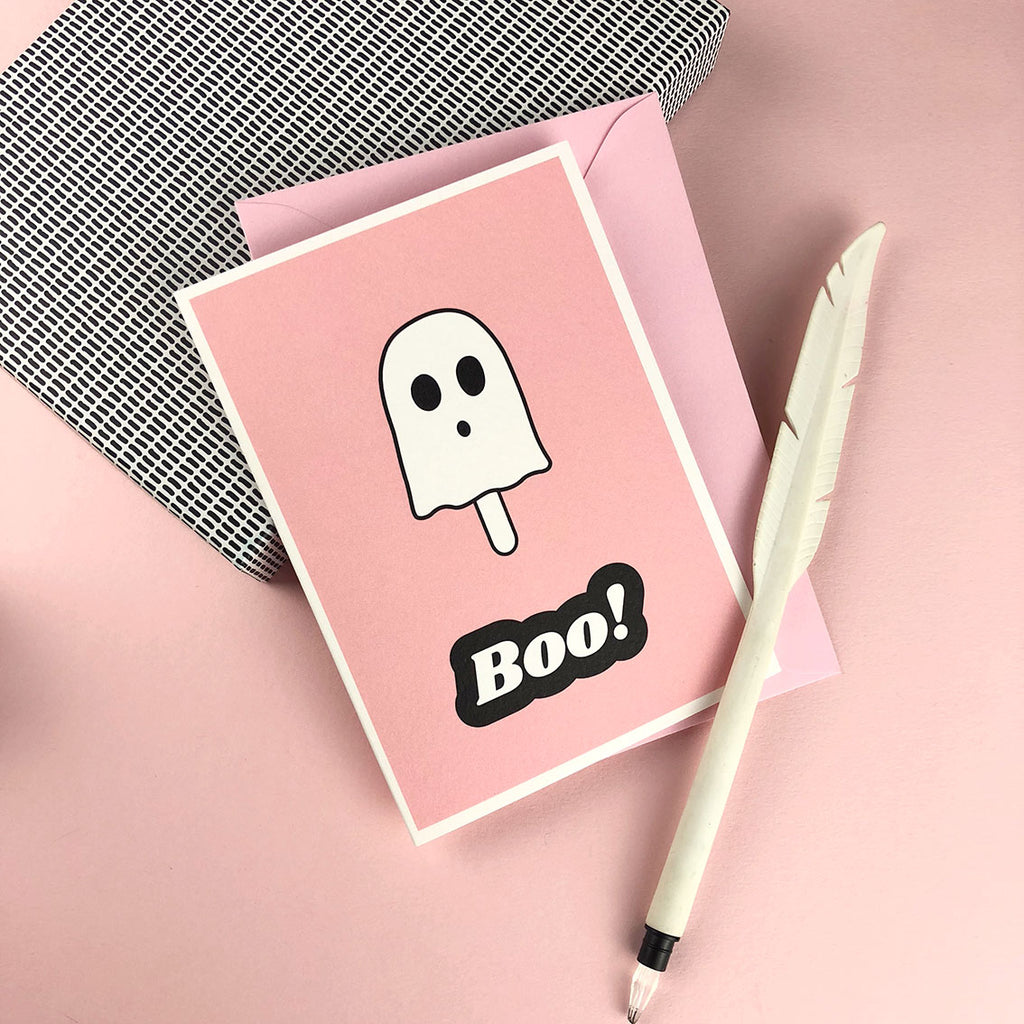 BOO ghost Lolly greetings card