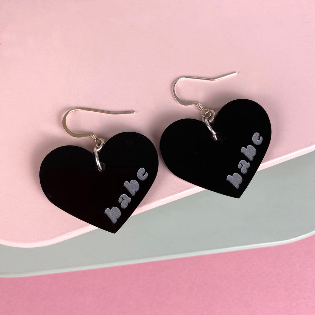 'Babe' Heart Earrings