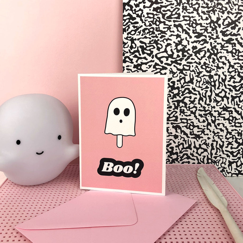 BOO ghost halloween greetings card; pink